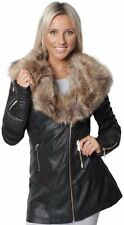 Womens Jacket Faux Fur Collar Leather Effect Ladies PU PVC Long Coat Black 8-24