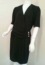 Vintage 80s dress size 10 12 retro original black gold Dolina formal retro