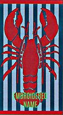 "40"" x 72"" Oversized Name Embroidered Beach / Pool Towel With Lobster Design"