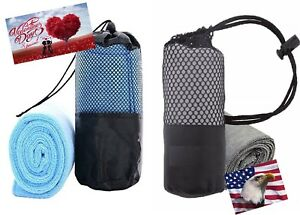 iLett 2 Pack Of Microfiber Sport Gym Towel BLUE PINK GRAY with Mesh Bag 16x48 in