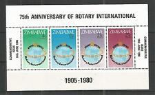 ZIMBABWE 1980 ROTARY INTERNATIONAL MINISHEET SG,MS595 UN/MM NH LOT 862A