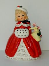 Vintage Napco Christmas Girl Lady Planter Muff Peppermint Candy Canes 1956 JAPAN