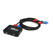 New 2 Port USB 4K HDMI KVM Switch Switcher With Cable For Dual Monitor Keyboard