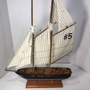 "Pilot Schooner #5 Wooden Scale Model Tall Ship Full Sail -20"" x 4"" x24"" Tall"