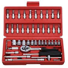 46pc Screwdriver Wrench Socket Set Hardware Car Boat Motorcycle Repair Tool Kit