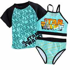 Deluxe~STAR WARS~3 PC~SWIMSUIT+ RASH GUARD SHIRT~5/6~Rey+BB8~NWT~Disney Store