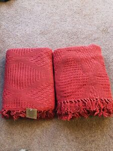 Throw Bed 150 x 130 cm throw blanket Red Rust Colour X2