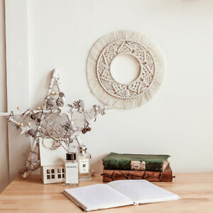Wall Hanging Mirror Macrame Round Tapestry Boho Decor for Apartment Living Room