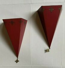 2 Southern Living at Home Sassy Red Wall Sconce Metal Tin Distressed Shelf SLAH
