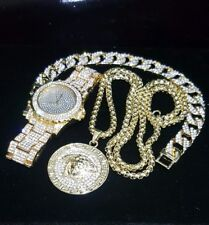MENS ICED OUT HIP HOP GOLD PT WATCH & STAINLESS STEEL BRACELET & NECKLACE SET