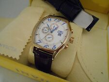 Mint Invicta Tonneau Multi Function 18K Gold SS Leather Watch and Box
