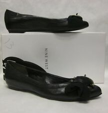 Nine West Eloquant Black Leather Flat - Size 6