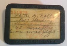 1939 California Fishing License w/ Badge California Div. Fish & Game Angler Pin