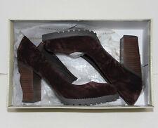 Matisse Jass Brown Crushed Velvet - Block Heel Pumps - Size 7, New - Box, No Lid