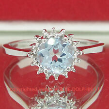 Genuine Natural Topaz Diamond Solid Silver Engagement Ring Band White Gold Finis