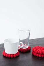 myfelt Cera Glasuntersetzer, rund 9 cm aus Filzkugeln, roter Untersetzer