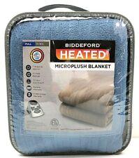 Biddeford Heated Microplush Blanket Electric Full 72 x 84 in. Blue NEW