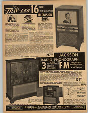 "1951 PAPER AD Travler Trav-Ler 16"" Console TV Television Radio Phonograph"