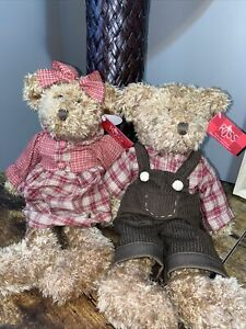 (2)Vintage Russ Teddy Bear Light Brown Plush 14in Avon collection
