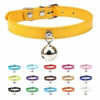 16 Colors Solid Leather Cat Collar With Bell Puppy Neck Strap Safety Kitten Coll