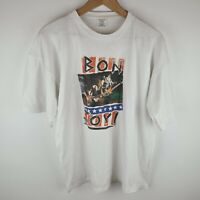 Vintage 90s Bon Jovi White Single Stitch Graphic Print TShirt - Size XL