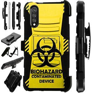Luxguard For LG Velvet 5G Phone Case Holster Kickstand Cover BIOHAZARD YELLOW