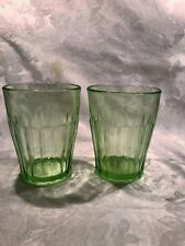 GREEN DEPRESSION PILLAR OPTIC OLD FASHION TUMBLER SET OF 2 7 OZ. FINE