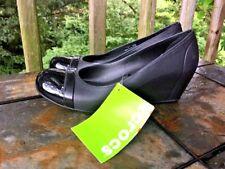 CROCS Black Patent Cap Toe Wedge Platforms High Heels Shoes Womens Sz 8 👞b5