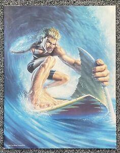 Unpunched 1991 Mead Portfolio Folder Surfer Shark Surfing 'No Rules' Free Ship