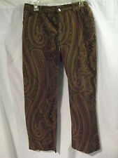 Ralph Lauren Paisley Pants Women's Size 10 Brown Flat Front Cotton Spandex