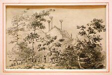ENGLISH PENCIL LANDSCAPES REAR LACKFORD HALL SUFFOLK  LATHBURY FAMILY C1830