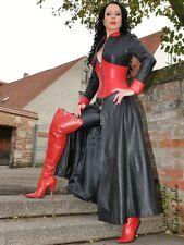 Ledermantel Leder Mantel Schwarz / Rot Bodenlang Maßanfertigung