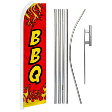 Red Bbq Advertising Swooper Flutter Feather Flag Kit Food Concessions Barbeque