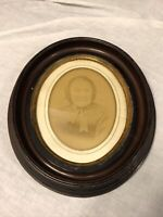 Antique Victorian Wood Oval Deep Well Picture Frame Portrait Photo WAVY GLASS