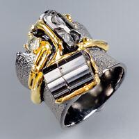Unique Design Natural Tourmaline 925 Sterling Silver Ring Size 6.5/R117351