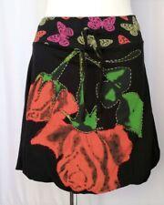 DESIGUAL SKIRT Multicoloured Print On Black Elastic Waist Size L (Waist 30 Inch)