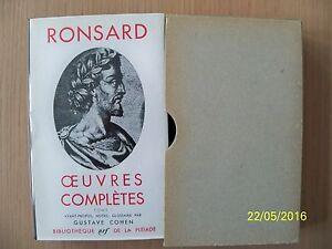 Pléiade Ronsard, Oeuvres complètes , tome 1 , 1965, jaquette étui rhodoïd