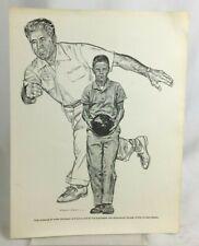 Vintage Andy Varipapa Robert Riger Drawing Frameable Print Bowling Equitable