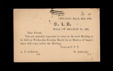 Chicago O.I.H Branch 268 Order Iron Hall Fraternal 1893 Grant Preprint Post   9r