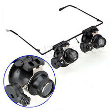 Eye Glasses Loupe Jeweler Watch Repair Tool 20X Magnifier Magnifying LED Light