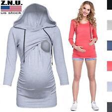Women's Maternity Sweatshirt Tops Nursing Breastfeeding Pullover Blouse Clothes