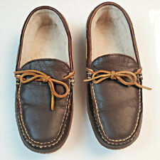 L.L. BEAN Brown Sz 8 M Men Leather Casual Slippers House Shoes