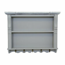 Charles Bentley Shabby Chic Kitchen Wall Shelf Unit in Grey Made of MDF