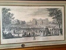 GRAVURE XVIII JARDIN LUXEMBOURG PRINCE de CONTY ARMOIRIES 1729 RIGAUD 57x36cm