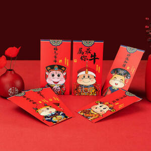 6Pcs 2021 Chinese New Year Red Envelope Cartoon Personality Eve Wallet Red Bag
