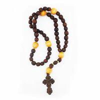 Catholic Bead Rosary w/ Byzantine Cross 11 inch
