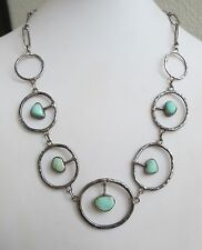 VTG Hand made studio style sterling silver turquoise circle of hearts necklace