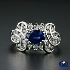 Cocktail Ring & Right Hand Ring 14Kwg Natural 1.78 Ct Oval Sapphire & Diamond