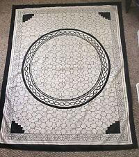 Rare Shipibo Indians Art Hand Painted Ayahuasca Shaman Textile Black Ivory Large