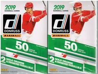 (2) 2019 Donruss Baseball Trading Cards 50c. HANGER Box LOT=Orange&DiamondAwe PC